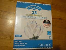 energy star led c9 lights holiday time 25 count ultra bright cool white led c9 lights green
