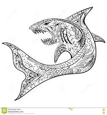 drawn shark coloring page pencil and in color drawn shark