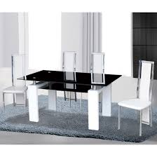 Kontrast Black Glass Dining Table In Gloss White  Deluxe - White and black dining table