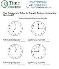 time math worksheets for telling time with subtracting and adding