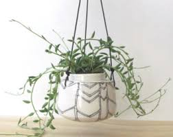 White Hanging Planter by Tiny Hanging Planter Etsy