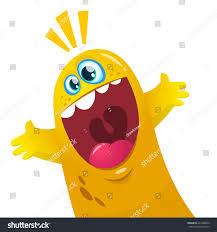 cartoon yellow blob monster halloween vector stock vector