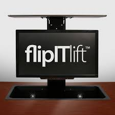 Recessed Monitor Computer Desk with Ergonomic Monitor Mounting Systems Flipit Collaborative Communication