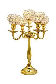 amazon com gold crystal globe 5 arm candelabras wedding