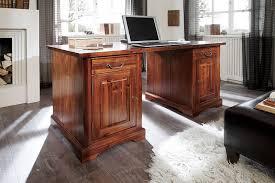Schreibtisch Echtholz Schreibtisch Braun 150x68 Massiv Holz Büro Möbel Neu Esmond Ebay
