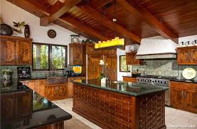 Tropical Kitchen Design Tropical Kitchen With High Ceiling Sandstone Tile Floors In