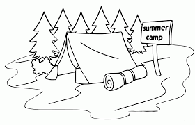 summer camp tent sleeping bag coloring page for glum me