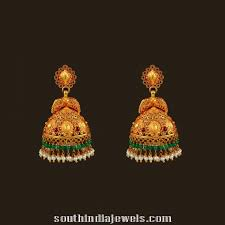 antique gold jhumka earrings antique gold peacock jhumka south india jewels
