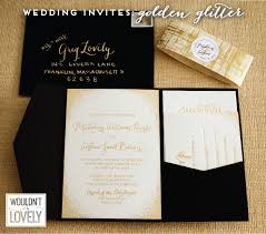 and black wedding invitations glittery gold custom wedding invitation suite wouldn t it be lovely
