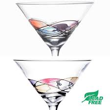 martini glass spilling amazon com handcrafted and painted martini glasses by sonoma