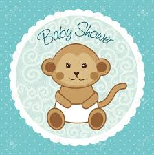baby shower card with monkey over blue background vector royalty