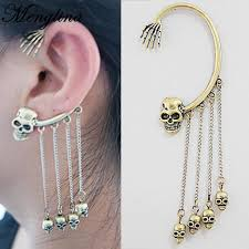 menglina fashion rock metal skull tassel cuff earrings
