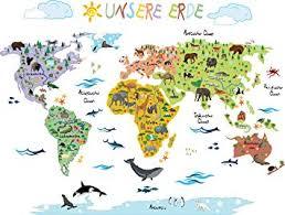 weltkarte für kinderzimmer wandsticker weltkarte kinder geographie tierwelt spielerisch