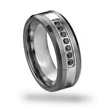 band ring men s black diamond tungsten engagement band ring stdwellers