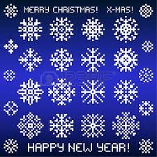 christmas vector snowflakes designs in pixel style vector