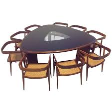 S Triangular Brazilian Dining Table And Chairs By Tenreiro For - Triangular kitchen table