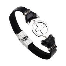 er rock stainless steel sideways cross leather bracelet cowhide
