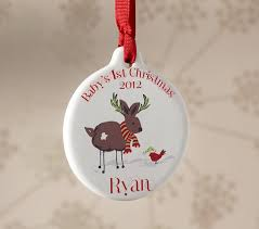 baby s reindeer ornament pottery barn