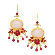 Red Chandelier Earrings Ottoman Hands Rose Quartz And Red Agate Flower Chandelier Earrings
