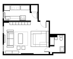 download one room efficiency apartment plans home intercine