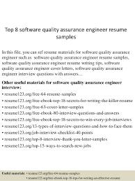 quality assurance resume senior qa engineer sle resume 13 top 8 software quality assurance