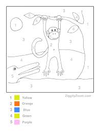 monkey in tree color by number page color by numbers number