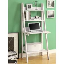 decorating white wooden ladder bookshelf with laptop stand on