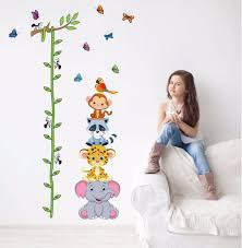 compare prices on cartoon wall stickers boy online shopping buy cute tiger animals stack height measure wall stickers decal kids adhesive vinyl wallpaper mural baby girl