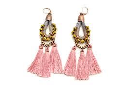 Pink Chandelier Earrings Pink Tassel Earrings Large Chandelier Earrings Drop