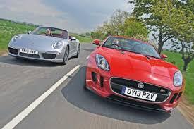 jaguar f type vs porsche 911 jaguar f type vs porsche 911 cabriolet auto express