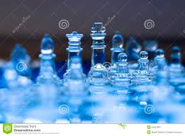 Glass Chess Boards Glass Chess Game King With Queen Blue Tones Stock Photo Image