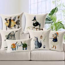 Cushions Covers For Sofa Fox Birds Elephant Fish Custom Cushion Covers 7 Styles Animal Diy