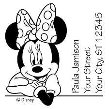 minnie mouse leaning stamp checks mail