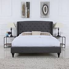 Grey Bed Frame Divano Roma Furniture Classic Grey Box Tufted