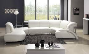 living room contemporary white leather sofa on grey shaggy rug
