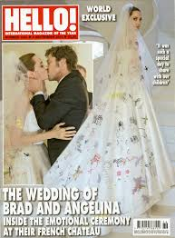 angelina jolie u0027s wedding dress decorated by her kids remembered
