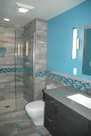 master bath blue glass mosaic accent tile contemporary bathroom