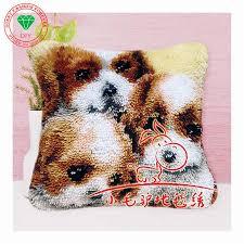 latch hook rug kits animla lovely dog diy needlework unfinished