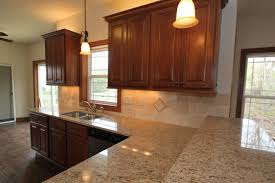 maplewood kitchen with raised snack bar and cherry cabinets