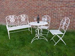 wrought iron bistro table and chair set 3 piece cream metal bistro set for 2 ornate garden patio p10
