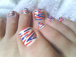 diy red white u0026 blue zebra toe nail art youtube