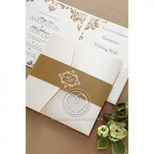 Pocket Invites Gold On White Trifold Card With Pocket For Enclosures
