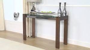 glass and metal console table cannes walnut u0026 glass console table ofstv youtube