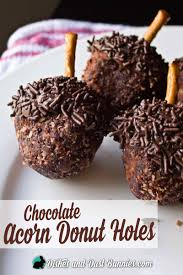 thanksgiving acorn treats chocolate acorn donut holes a fun fall treat dishes and dust