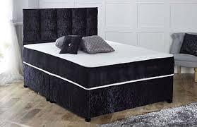 Crushed Velvet Bed Coil Sprung Crushed Velvet Orthopaedic Divan Bed Free Headboard