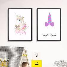 nursery unicorn girls artwork canvas art print painting poster