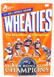 wheaties cereal super bowl xxxvi 18oz sealed box tom brady ebay