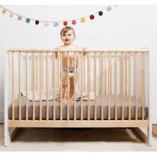 robin crib in white and natural birch and nursery necessities in