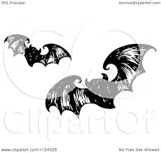 clipart of sketched black and white flying halloween bats 2