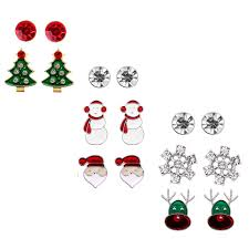 christmas stud earring set gift pack of 8 pairs hypoallergenic